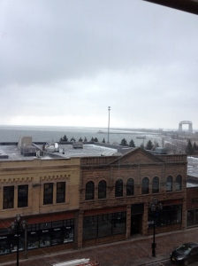 The view from our hotel room! Yes, it was a gray day, but who cares. Lake Superior is like an ocean!